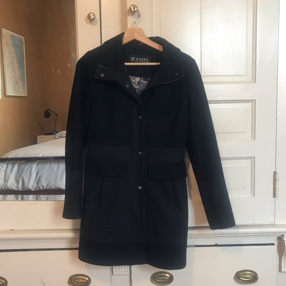 Guess black and dark grey wool trench coat